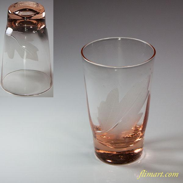 昭和レトロピンクガラスコップR5708