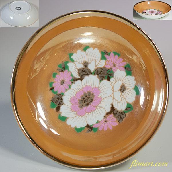 昭和レトロラスターオレンジ花柄小鉢R5747