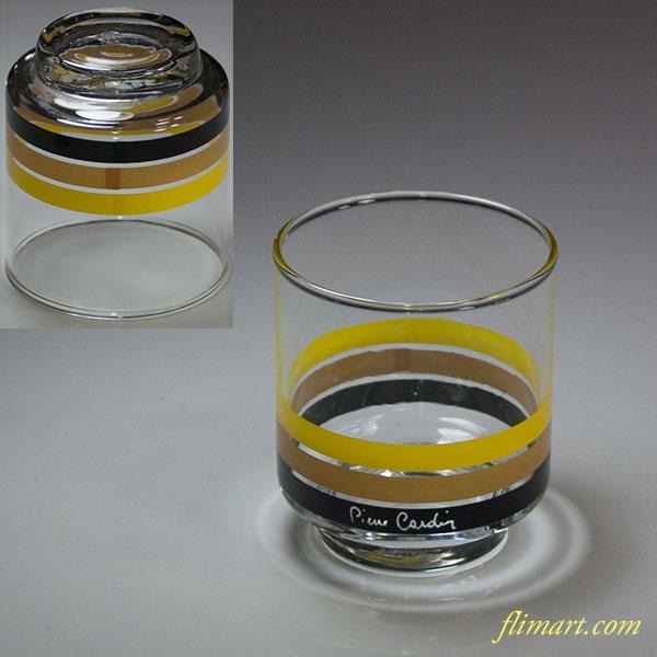 ピエールカルダンガラスコップ黄茶黒R5739
