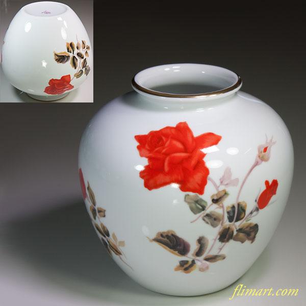 ノリタケ薔薇柄花瓶