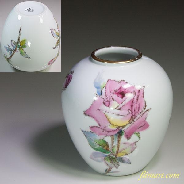 ノリタケ薔薇柄小花瓶