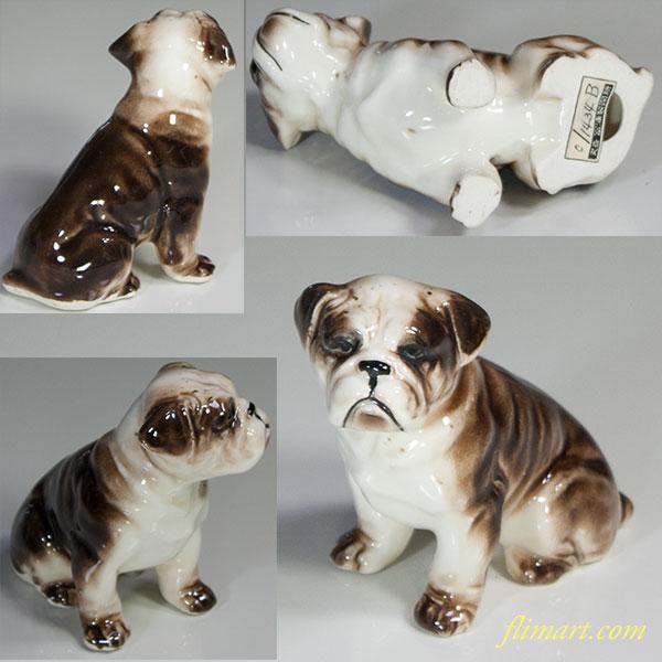昭和レトロ陶器日本製フィギュア犬の置物ブルドッグ