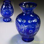 ガラス色被切子花瓶R5785
