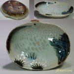 昭和レトロ統制陶器宣陶「品61」鶴楕円小鉢