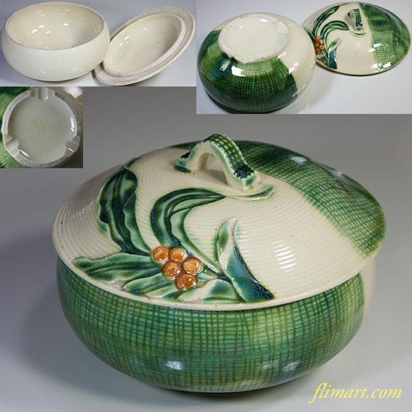 萬古焼統制陶器「万106」蓋付入物