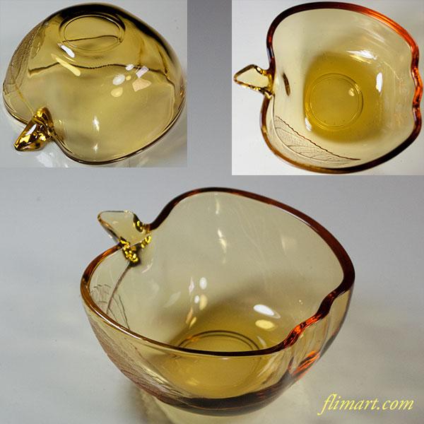 昭和レトロソガグラス飴色リンゴ型小鉢R4569