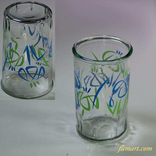 昭和レトロガラスコップ菖蒲R5829