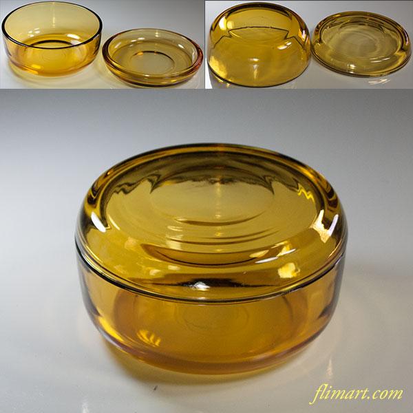 昭和レトロ旭硝子飴色ガラス蓋付入物