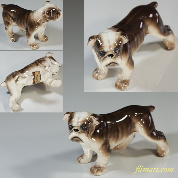 昭和レトロ陶器日本製フィギュア犬の置物ブルドッグR5849