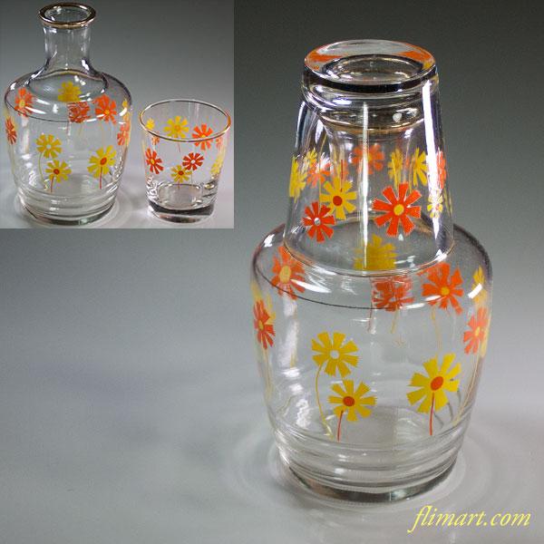 昭和レトロガラス水差し花柄オレンジ黄R5903