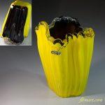 昭和レトロクラウンガラス黄花瓶R5950