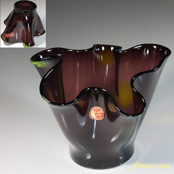 昭和レトロセンターグラス紫ガラス花瓶