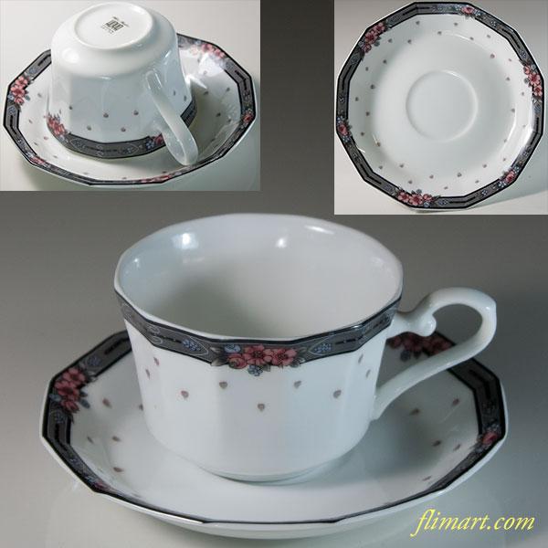 保谷HOYAホワイトシャドウカップ&ソーサーR5967