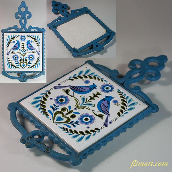 昭和レトロ陶器製タイル双鳥鍋敷き