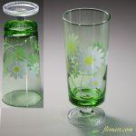 昭和レトロ緑ガラス花柄野花ガラスコップR1816
