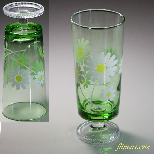 昭和レトロ緑ガラス花柄野花ガラスコップR5976