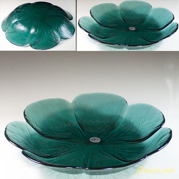 カメイガラス白菜藍ガラス大皿