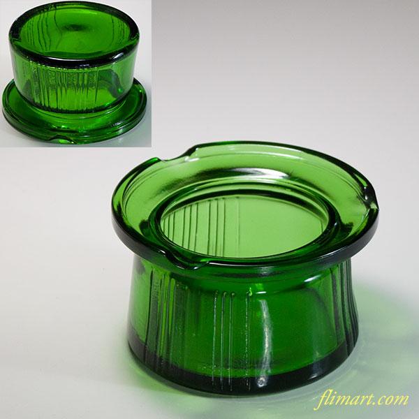 緑ガラス灰皿R5993