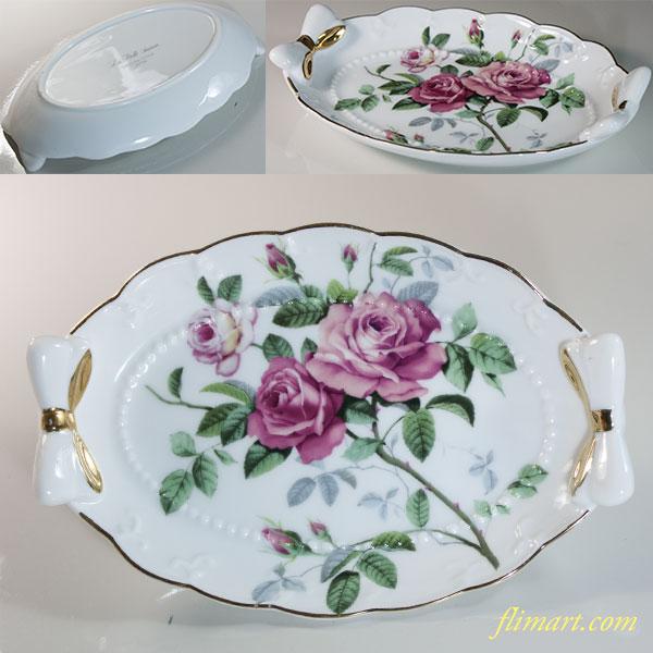 薔薇柄小皿トレイR6050