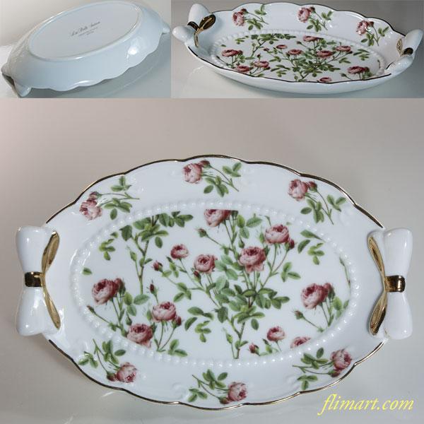 薔薇柄小皿トレイR6035