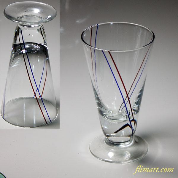 昭和レトロガラスコップラッパ型赤青ライン