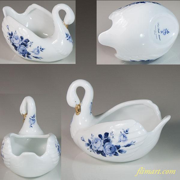 陶磁器製白鳥花柄置物クリーマー