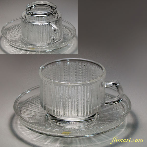 昭和レトロソガグラスガラスカップ&ソーサーR6022