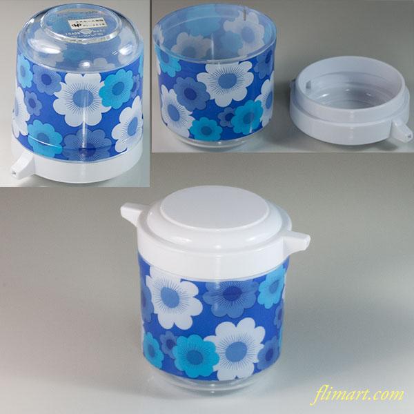 昭和レトロプラスチック花柄醤油差し青R6031