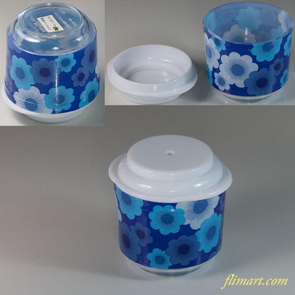 昭和レトロプラスチック花柄胡椒差し青R6041