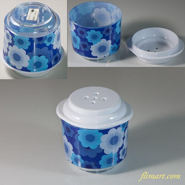 昭和レトロプラスチック花柄塩差し青R6067