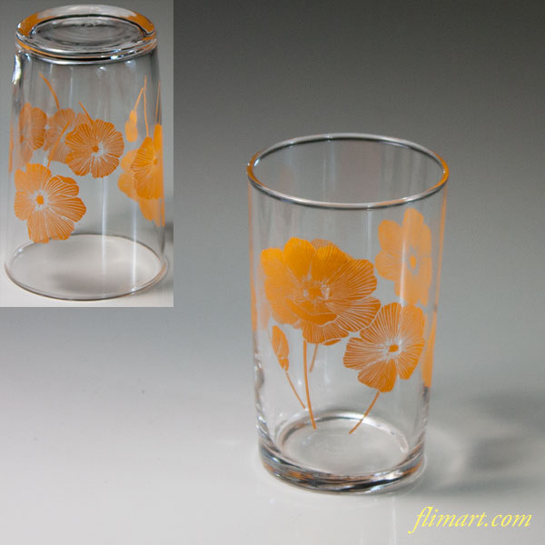 昭和レトロアデリアオレンジ花柄ガラスコップR6085