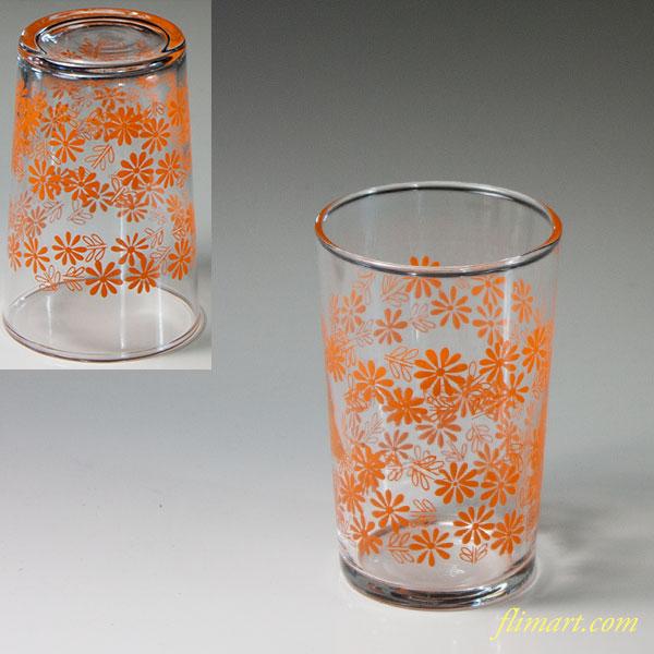 昭和レトロ佐々木グラスガラスコップオレンジ花柄R6092