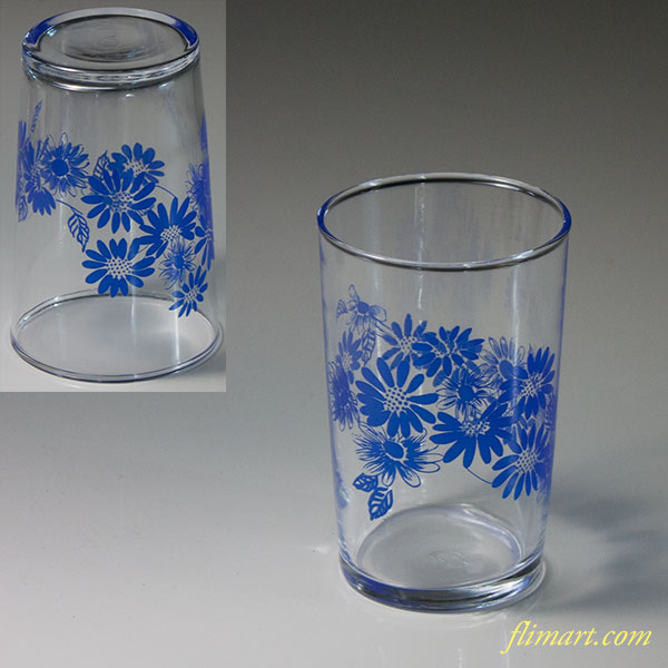 昭和レトロアデリア花柄青ガラスコップR6096