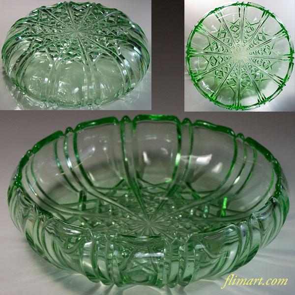 昭和レトロ緑ガラスボウルR6112