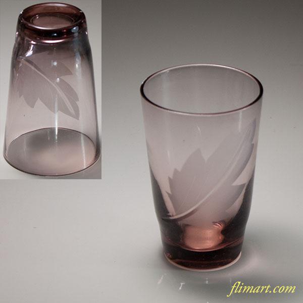 昭和レトロ紫ガラスコップR6114