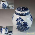 昭和レトロ印判手ウィローパターン茶壺