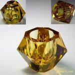昭和レトロ飴色ガラス灰皿R6115
