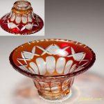 赤被切子ガラス小鉢