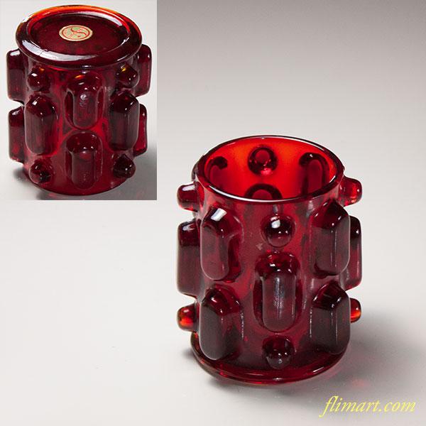 昭和レトロ赤ガラス筆差し蝋燭立