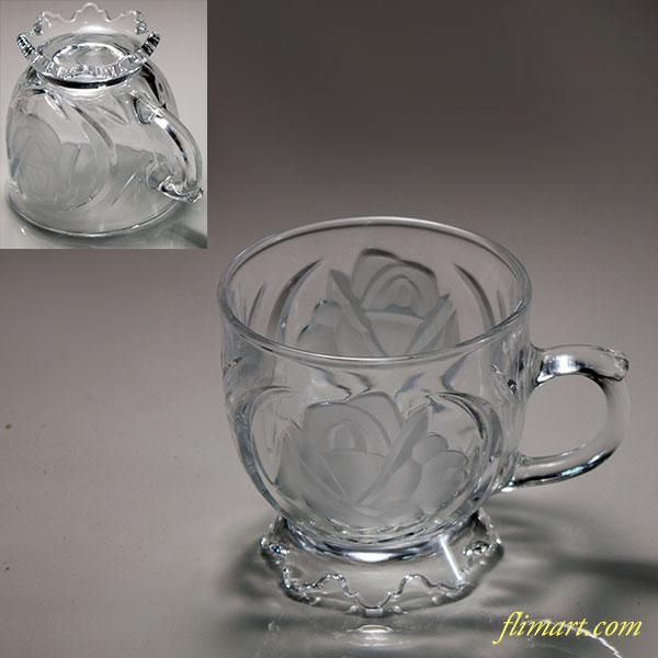 薔薇柄ガラスカップR6199