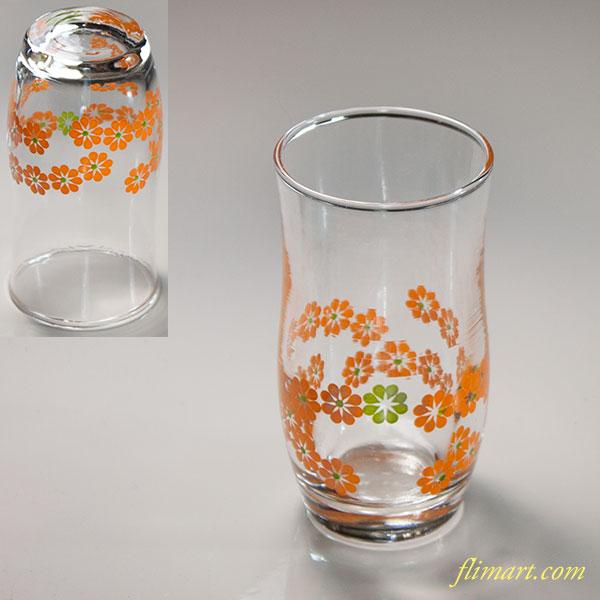 昭和レトロオレンジ花柄ガラスコップR6172