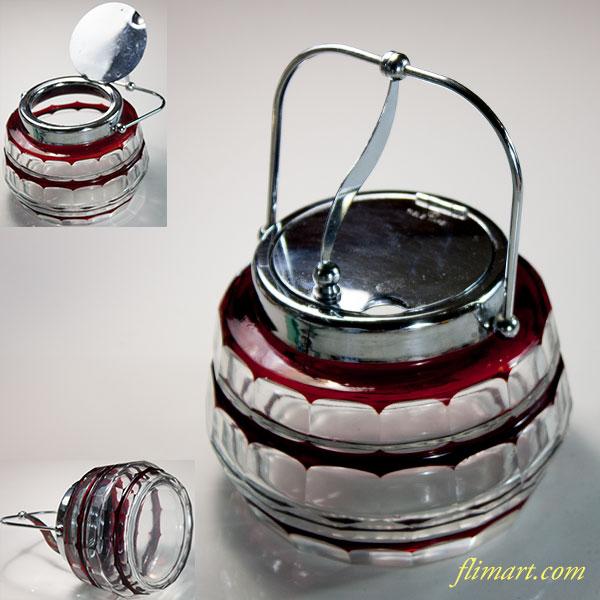 昭和レトロ切子ガラスシュガーポット赤R6202
