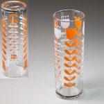 昭和レトロオレンジ白花柄ガラスコップR6205
