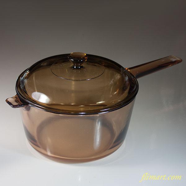 岩城硝子コーニングビジョンパイロセラム耐熱ガラスキャセロール片手鍋2.8L