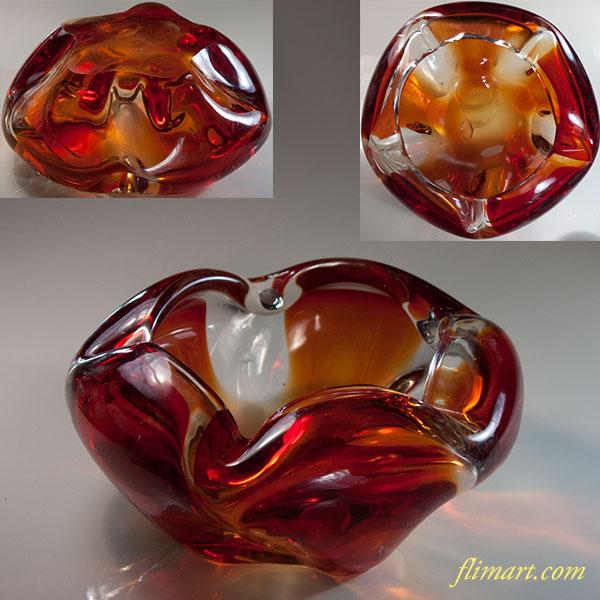 昭和レトロガラス灰皿R6252