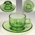 ソガグラス緑ガラスカップ&ソーサー