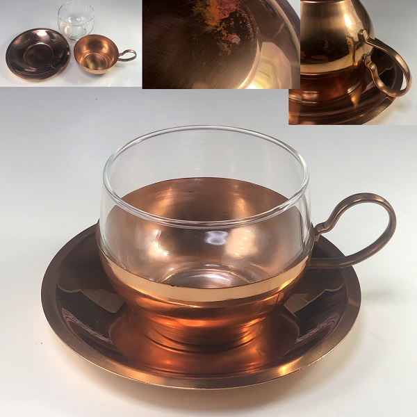 昭和レトロ銅製カップ&ソーサーR6661