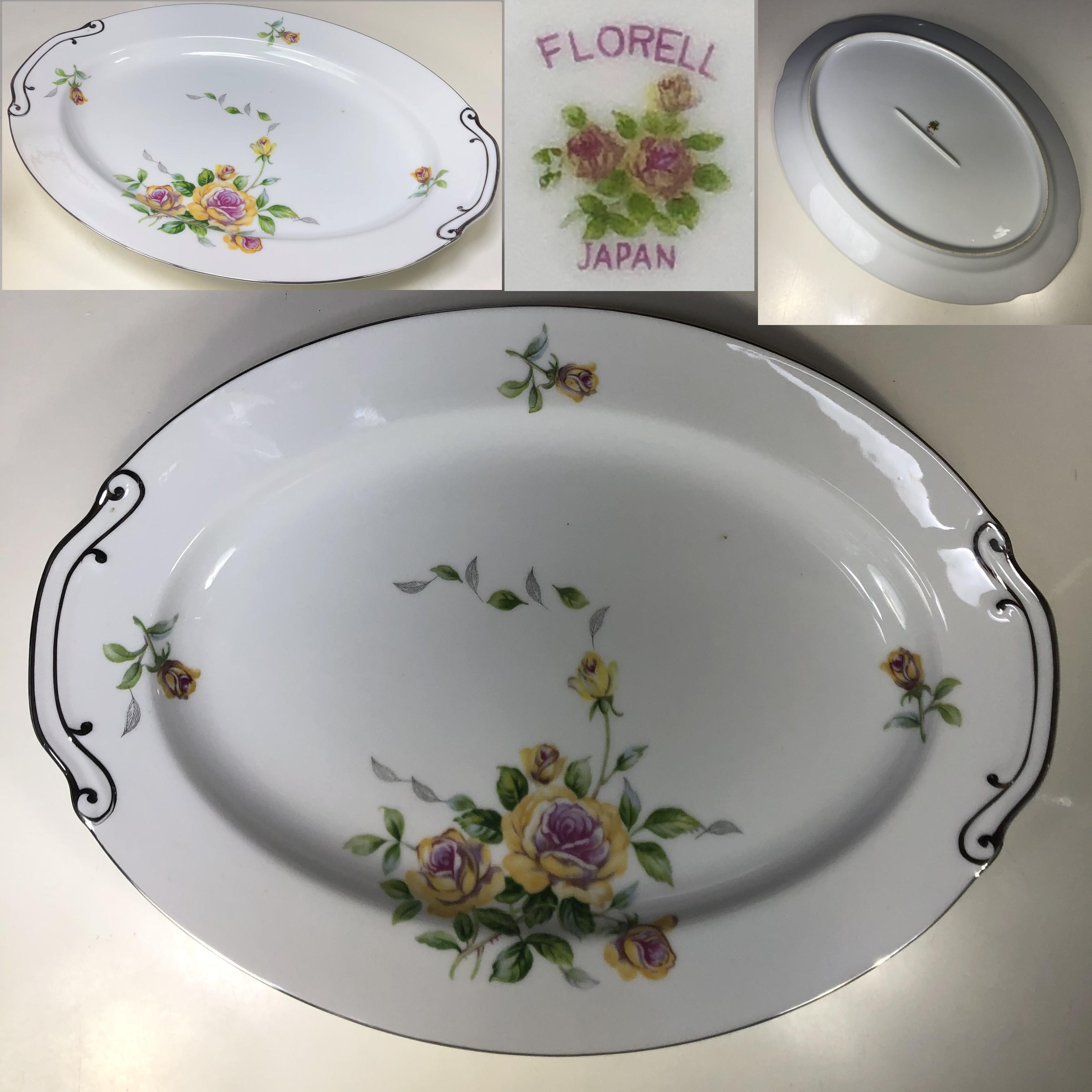 FLORELL花柄薔薇柄41cmオーバルプレート