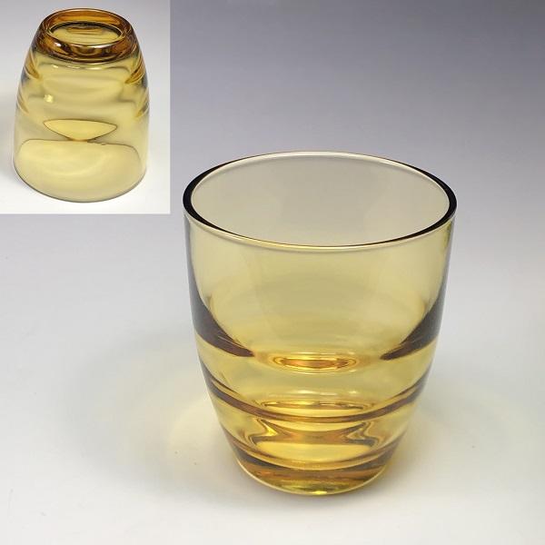 昭和レトロ飴色ガラスコップR692