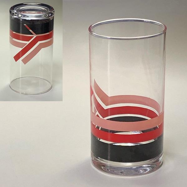 赤ストライプガラスコップR6806